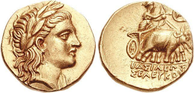 Seleucus I Nicator (305-281 BC). Stater, Ꜹ, 8.51 g, 10 h, uncertain mint 19 in Baktria (Baktra?), 290-281 BC. Head of Apollo right, wearing laurel wreath. / BASILEWS SELEUKOU. Artemis driving biga of elephants right, holding reins in both hands while arming bow with arrow; monogram above [and to right]. Extremely rare, 1 of 6 known (all from one pair of dies), of which 4 are in museums (London, Berlin, and 2 in Miho). Reverse slightly off center. EF.