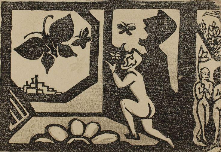 谷中安規『蝶を吐く人』1933年 木版画