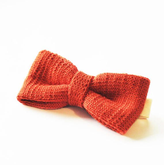 Knitted bow tie orange bow tie knitting bow tie for men