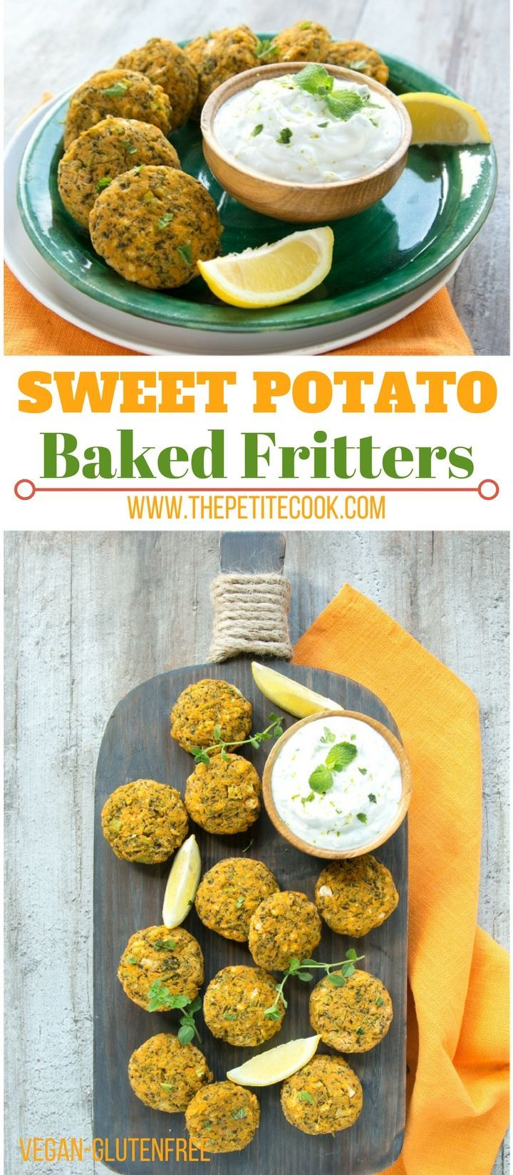 Crispy on the outside and tender on the inside, these healthy baked Veggie Sweet Potato Fritters are ready on the table in 30 minutes and awesomely #vegan & #glutenfree #dairyfree - Recipe by The Petite Cook