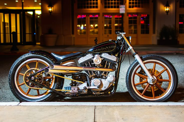 Black and gold. Harley Davidson 886 Sportster Bobber by AE Custom Cycles #bobber #harleydavidson #motorcycles   caferacerpasion.com