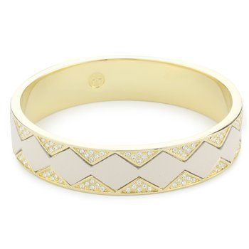 "House of Harlow 1960 ""Sunburst"" Bangle Bracelet in Gold and White Leather"