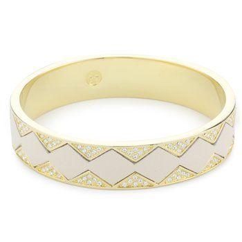 "House of Harlow 1960 ""Sunburst"" Bangle Bracelet in Gold and White Leather"