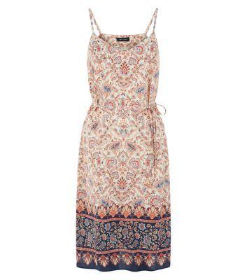 White Paisley Print Tie Waist Midi Dress