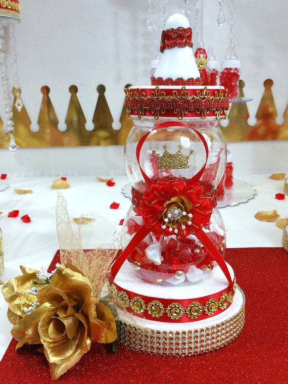 RED & GOLD Baby Shower Centerpiece For Prince Baby Shower /