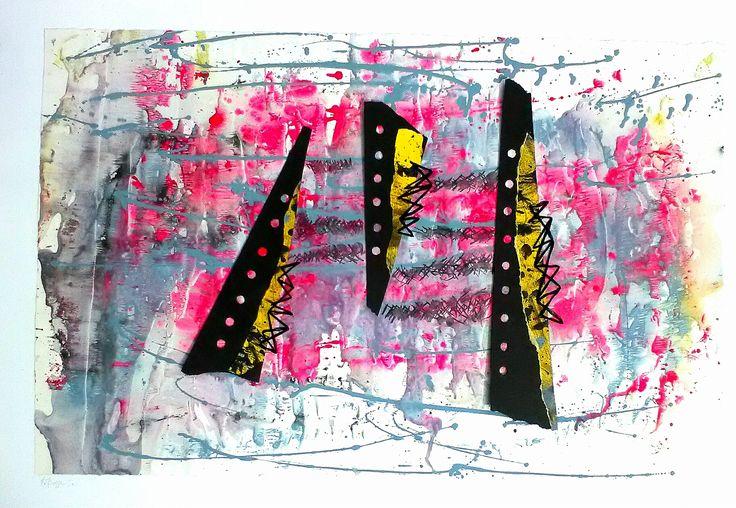 """N.7 """"Sutura7"""", Parella 2010 Tecnica mista e Acetato cm 70x100"""
