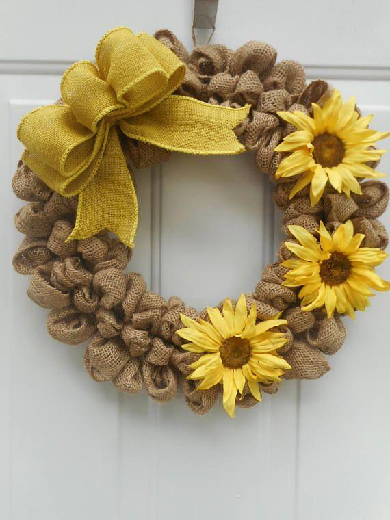 Sunflower wreath Sunflower burlap wreath Summer wreath Summer