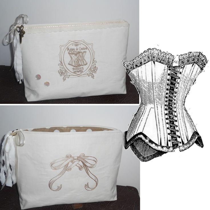 """Grande trousse de toilette 35X25 cm """"Maison de couture"""" corset, noeud, breloques blanc cassé, beige, pois, coton, dentelles : Trousses par miss-coopecoll"""