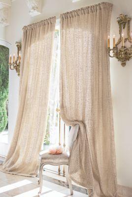 Raw Silk Woven Drapery Panel - Tonal Cotton Muslin Lining | Soft Surroundings