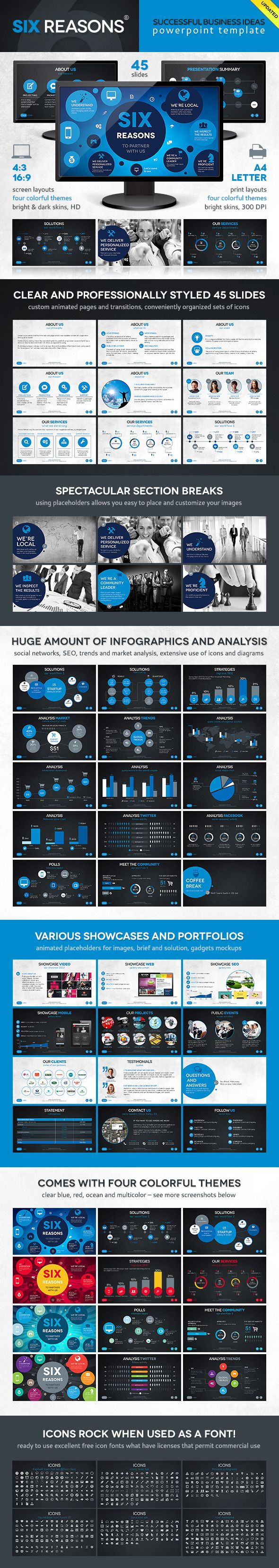 Six Template PowerPoint Template / Theme / Presentation / Slides / Background / Power Point #powerpoint #template #theme