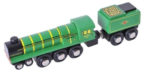 BigJigs Wooden Railway Heritage Collection Green Arrow Train Engine BJT439 BigJigs Rail Heritage Collection Green Arrow locomotive is a wooden replica of the real locomotive, licensed from the Nationa