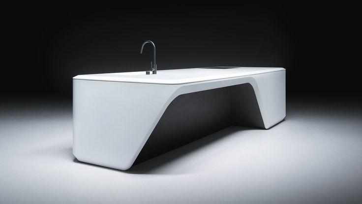 Zaha Hadid Architects heeft een keukeneiland ontworpen voor de Italiaanse keukenfabrikant Boffi. Deze wordengeplaatst in de luxe appartementen in het 520 West 28th project in New York. Bron: Dezee…