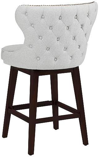 "Ariana Light Gray Fabric 25 1/2"" Swivel Counter Stool - #1N596 