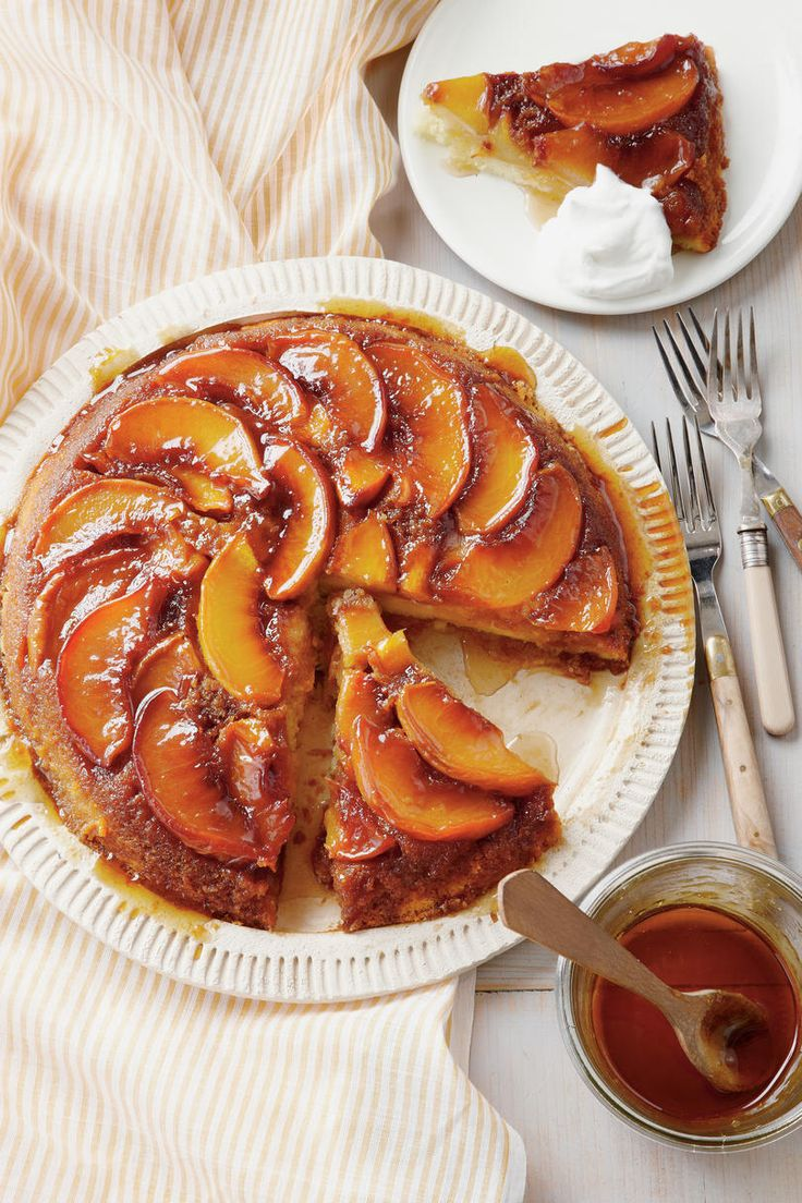 Peach Upside-Down Cake | Flip over these upside-down cast-iron skillet cakes. The more you delve into culinary history, the more you learn that many of our beloved recipes and traditions seem to have originated as marketing campaigns. Our favorite pecan pie recipes were printed on corn syrup bottle labels, and the Doctor Bird, or Hummingbird Cake, recipe came to us via a pamphlet from the Jamaica Tourist Board. Bundt pan sales jumped exponentially after the Tunnel of Fudge Bundt cake placed…