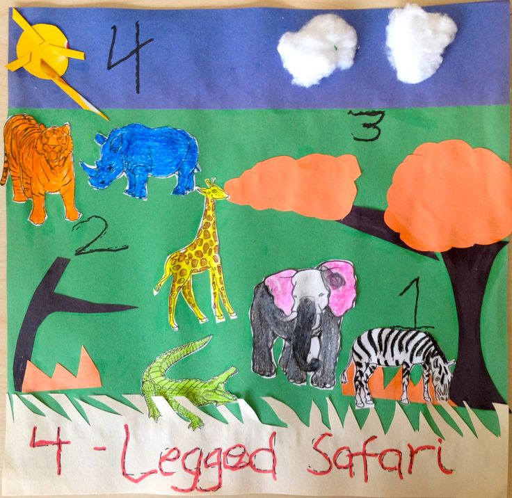 The number of the day was 4, so we made 4-legged safari animals. We used construction paper, cotton balls, a waffle box for the sun, and animal printouts from the Internet. She colored the animals herself.