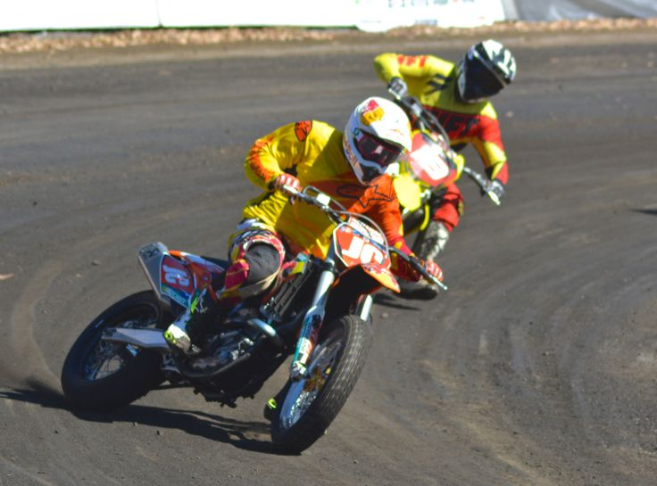 Jason Crump speedway-style at the 2014 Troy Bayliss Classic