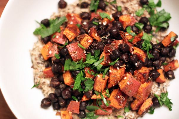 Black Chickpeas and Roasted Sweet Potatoes on Black Chickpea Hummus - Amateur Gourmet