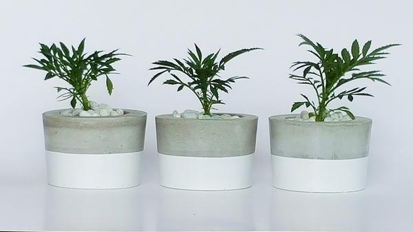 Mini grey horizon pots - set of 3