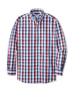 59% OFF Tommy Hilfiger Men's Slim Fit Checked Spread Collar Dress Shirt (Multi)