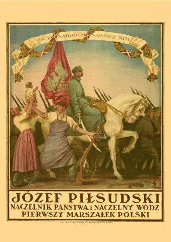 Naród z Piłsudskim - przedwojenny.pl Przedwojenny polski plakat z czasów II RP