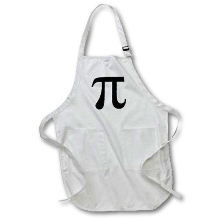 3dRose Pi symbol math sign. Mathematical black and white mathematics number, Medium Length Apron, 22 by 24-inch, With Pouch Pockets