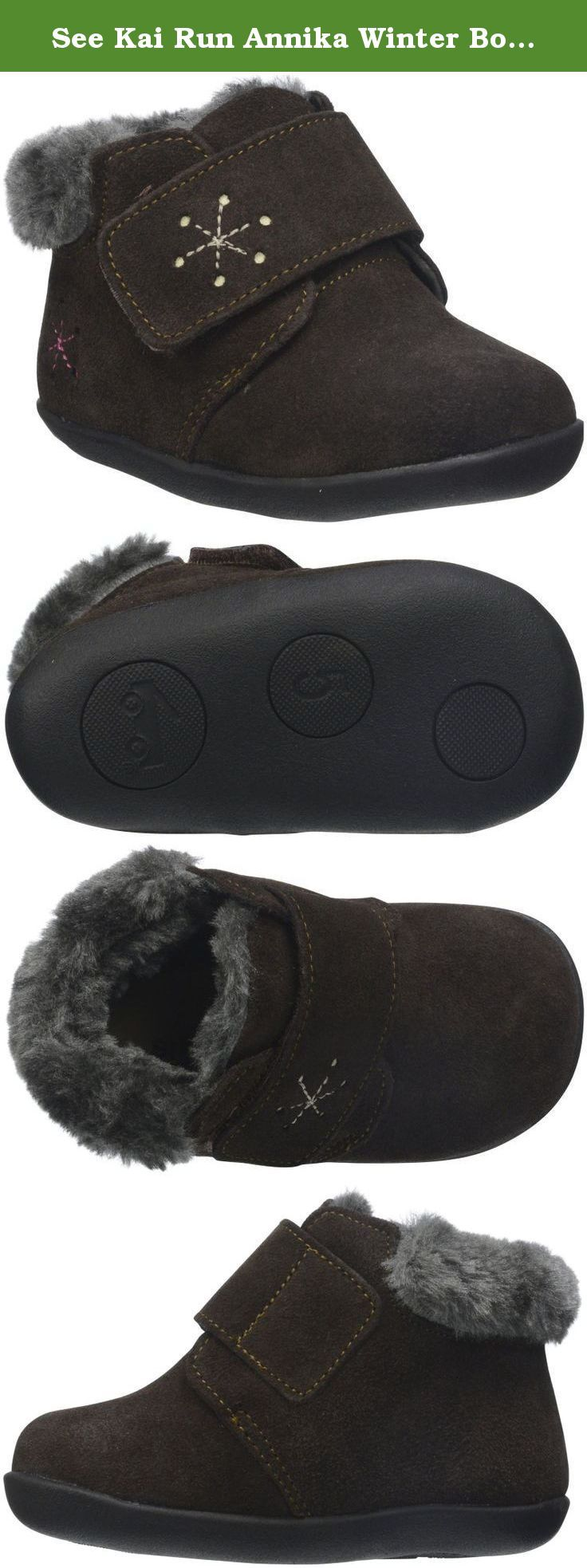 See Kai Run Annika Winter Boot (Infant/Toddler), Brown, 6 M US Toddler. This suede boot with its plush lining and snowflake cutouts will keep her toes cozy no matter what the day brings. The new rubber outsole is built for taking those very first steps, while the wide opening allows easy on/off. Rubber outsole provides balance, grip, durability and traction Wide toe box allows wiggle room and healthy foot development. Padded collar for extra comfort Adjustable hook-and-loop closure.