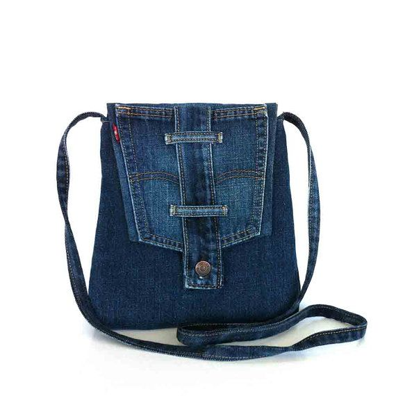 Small crossbody bag Recycled blue jean messenger bag Travel purse Side bag Denim sling purse Upcycled shoulder purse Cross body bag