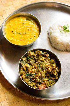 bhindi bhaji Ingredients Include: okra, chili, onion, tomato, fennel, coriander powder, turmeric powder, asafoetida, dry mango powder/amchur powder, garam masala powder, coriander leaves