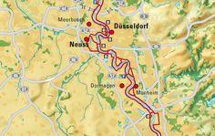 Der Rheinradweg zwischen Köln und Düsseldorf