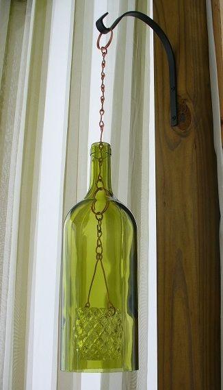 Up-cycled wine bottle Lanterno