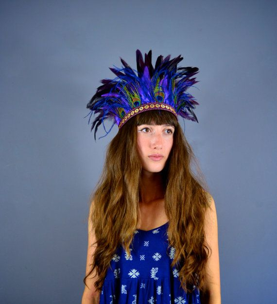 Storm  Bright Feather Headdress  Festival Headband by Hapuska, based in the UK and selling on Etsy