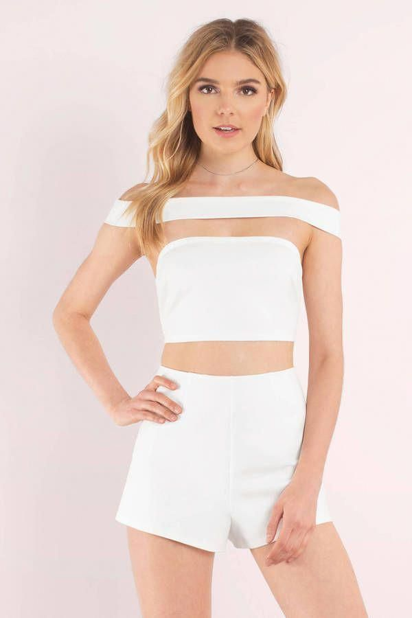"8b5169a2898a Search ""All You Got White Romper"" on Tobi.com! strapless white two piece  look midriff shoulder strap off shoulder tight fitting form sleek  minimalist outfit ..."