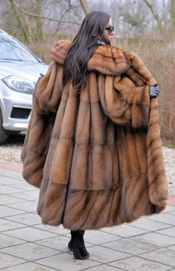 LONG SWINGER FUR COAT. REAL RUSSIAN SABLE. RUSSIAN SABLE ! ENDS OF COLLECTIONS. THIS FANTASTIC COAT IS ONE. SWINGER STYLE. OF THE MOST BEAUTIFUL COATS. All skins used in our fur coats are Farm Raised.   eBay!
