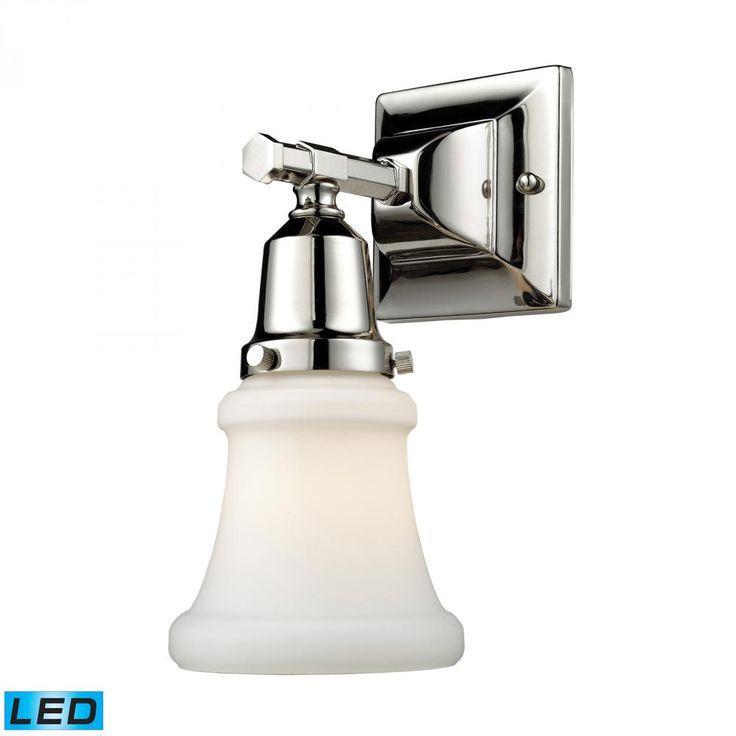 One Light Polished Nickel Bathroom Sconce