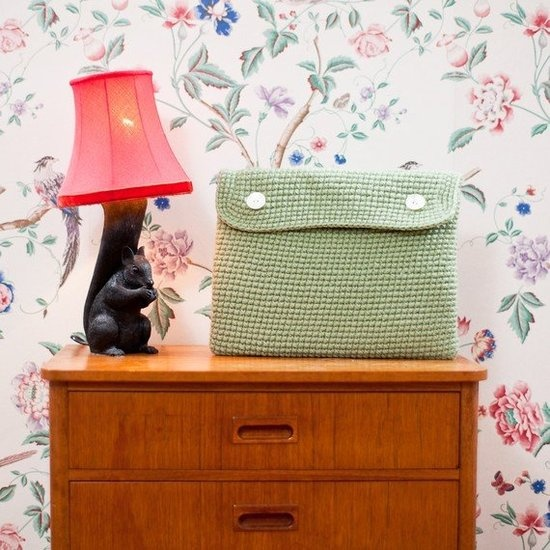 I'm definitely making this crocheted laptop case.   Also I am crushing on this squirrel lamp!