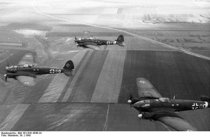 Heinkel He111 bombers flying in formation.