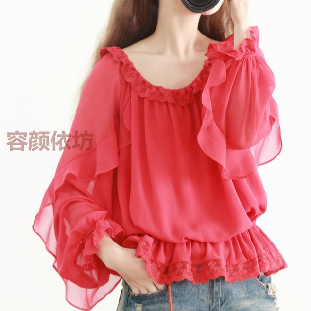 2015 new mori girl autumn original design o-neck long-sleeve ruffle lantern sleeve chiffon shirt lace shirt women's US $62.99 /piece Specifics Item Type Tops Tops Type Tees Gender Women Decoration Ruffles Clothing Length Regular Sleeve Style Regular Pattern Type Solid Style Casual Fabric Type Chiffon Material Cotton Collar O-Neck Color Style Natural Color Sleeve Length Full  Click to Buy :http://goo.gl/t9O329