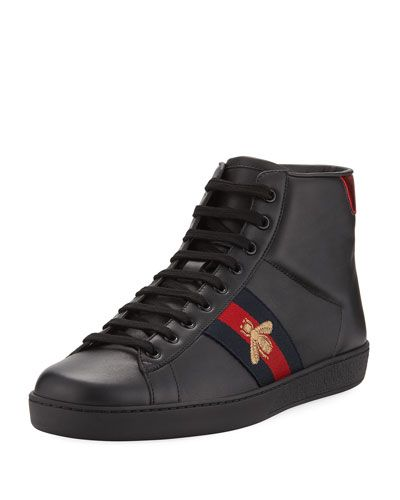 402eae617e1 GUCCI NEW ACE HIGH-TOP LEATHER BEE SNEAKER.  gucci  shoes