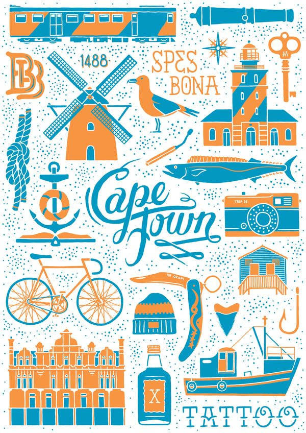 Cool design & colour: Town South Africa, Capetown, Illustration, Capes Town, Town Travel, Travel Posters, Cool Design, Studios Muti, Cape Town