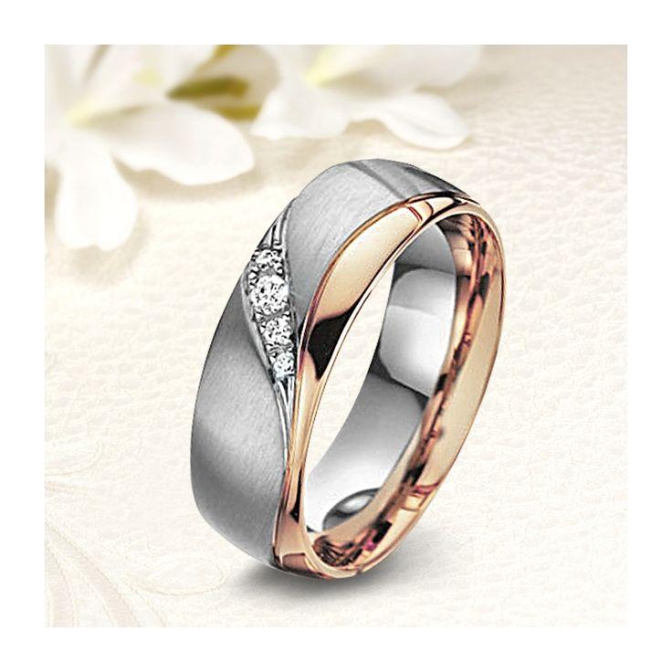 Nemesacél női karikagyűrű rozé arany hullám mintával