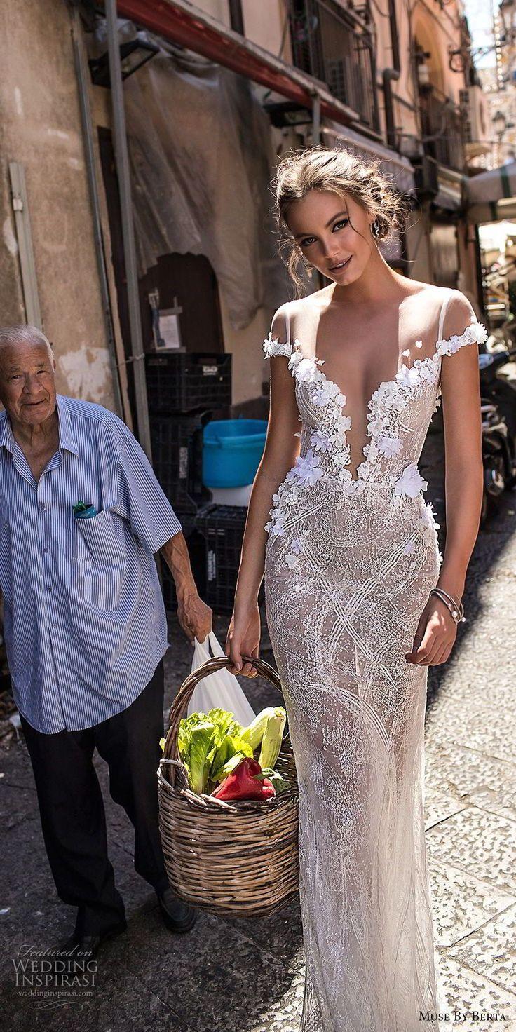 muse berta 2018 bridal cap sleeves phantasm boat deep plunging sweetheart neckli…