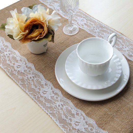 Topwedding 1pcs Sackleinen & Spitze Tischläufer Tischdekoration Hochzeit Gunsten