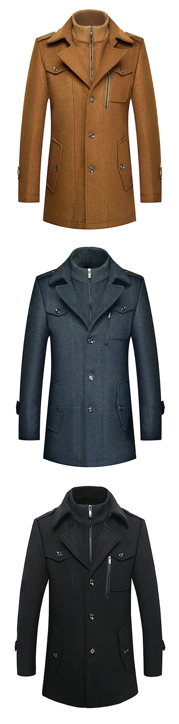 Winter Thickened Woolen Coat #mensfashion #men #outfits