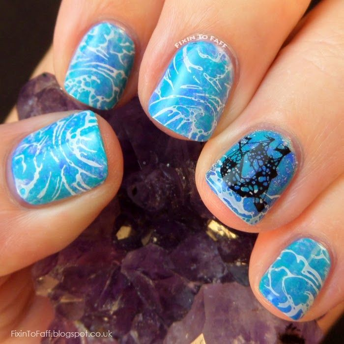 Avast Ye Bilge Rats Pirate Nail Art Challenge Day 2: Oceans