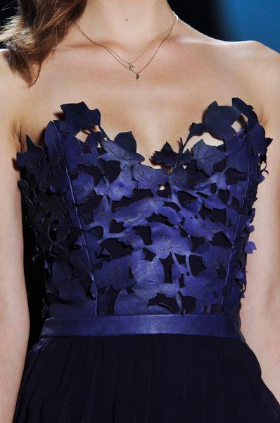 Laser Cut Leather - blue leaf bodice; lasercut fashion details // Emerson by Jackie Fraser Swan