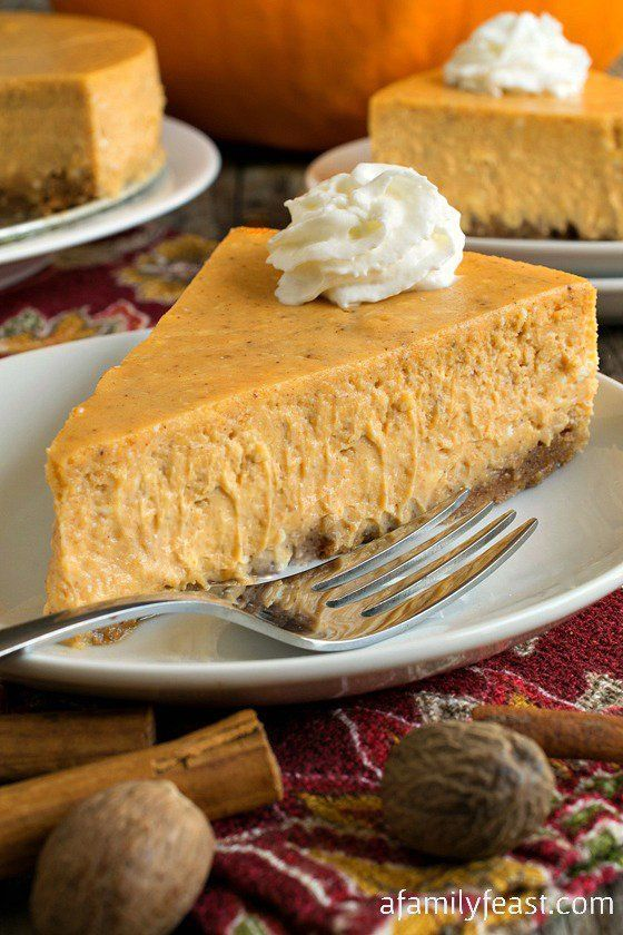 This is a must-make dessert for your family's Thanksgiving! A creamy, delicious and decadent pumpkin cheesecake