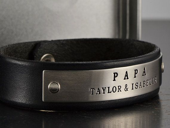 Mens Fathers Day Leather Bracelet - Personalized Stamped Leather Bracelet - Mens Jewelry