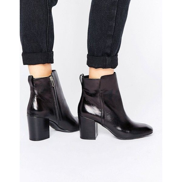 ALDO Quria Heeled Leather Ankle boots (€41) ❤ liked on Polyvore featuring shoes, boots, ankle booties, black, black wedge bootie, black leather booties, black leather boots, high heel ankle boots and wedge ankle boots