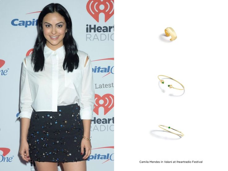 Camila Mendes in Valani at the iHeart Radio Festival in Las Vegas featuring the Arris Emerald Cuff, Vohk Emerald Cuff, Rive Emerald Cuff and Vi Yellow Gold Ear Cuff. #ValaniFemme #riverdale #Emerald