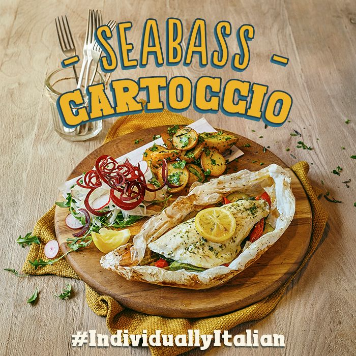 Fillet of seabass baked in parchment paper with butter, lemon, roasted red onions, courgette & peppers. Served with Tuscan potatoes & an Italian naked slaw. #IndividuallyItalian